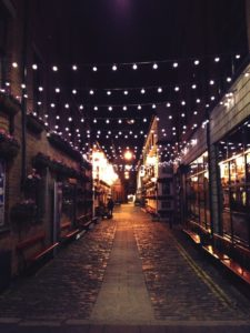 String lights used to enhance ambience in street